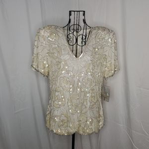 Papell Botique short sleeve beaded top NWT